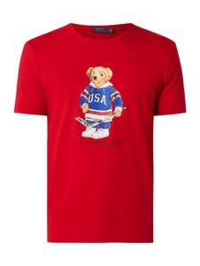 Czerwony t-shirt POLO RALPH LAUREN z bawełny z krótkim rękawem z nadrukiem