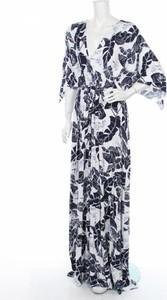 Niebieska sukienka Beme z dekoltem w kształcie litery v maxi z długim rękawem
