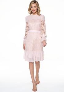 Różowa sukienka Lavard z długim rękawem midi z okrągłym dekoltem