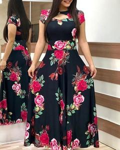 Sukienka Kendallme z dekoltem w kształcie litery v maxi z krótkim rękawem