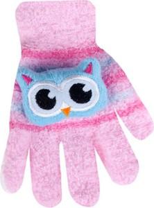 Różowe rękawiczki yoclub w zwierzęce wzory