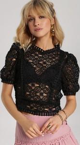 Czarna bluzka Renee w młodzieżowym stylu z krótkim rękawem