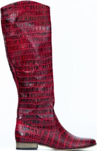 Kozaki Zapato ze skóry w stylu casual z płaską podeszwą