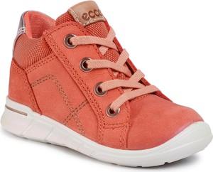 Pomarańczowe buty dziecięce zimowe eobuwie.pl sznurowane