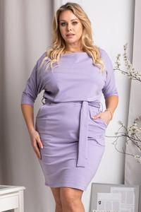 Fioletowa sukienka KARKO z okrągłym dekoltem z dresówki w stylu casual