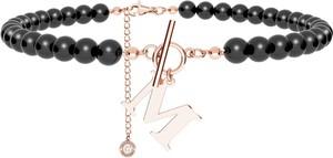 GIORRE Czarny perłowy choker z dowolną literą, srebro 925, Swarovski : Kolor pokrycia srebra - Pokrycie Różowym 18K Złotem , Litera - M