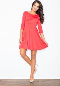 Różowa sukienka sukienki.pl rozkloszowana mini z długim rękawem