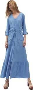 Niebieska sukienka Nife z długim rękawem maxi z dekoltem w kształcie litery v