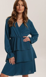 Niebieska sukienka Renee z dekoltem w kształcie litery v z długim rękawem