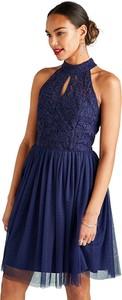 Sukienka Yumi mini bez rękawów z okrągłym dekoltem