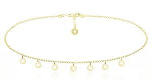 Lian Art Naszyjnik Choker łańczuszek z Ringami - 24k złocenie