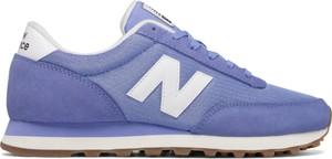 Niebieskie buty sportowe New Balance z płaską podeszwą z zamszu