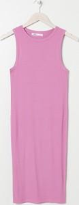 Różowa sukienka Sinsay mini z okrągłym dekoltem bez rękawów