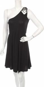 Czarna sukienka Moral Fiber bez rękawów asymetryczna z asymetrycznym dekoltem