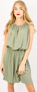 Zielona sukienka Olika mini bez rękawów