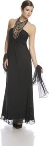 Czarna sukienka Fokus z dekoltem typu choker z szyfonu bez rękawów