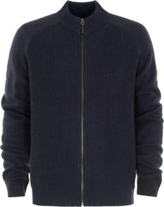 Granatowy sweter Ochnik z wełny w stylu casual ze stójką