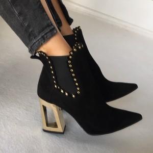 Czarne botki Miss Sophia Shoes ze skóry na obcasie