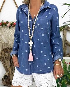 Niebieska koszula Kendallme w stylu casual z długim rękawem