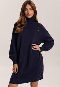 Granatowa tunika Renee w stylu casual z długim rękawem