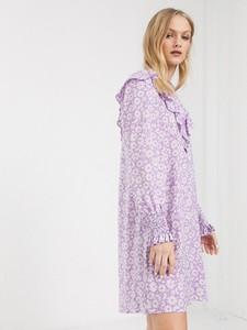 Fioletowa sukienka Monki mini z długim rękawem