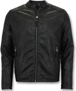 Czarna kurtka ENOS ze skóry krótka