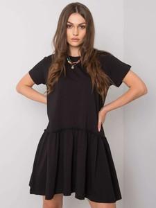 Czarna sukienka Promese z okrągłym dekoltem z bawełny