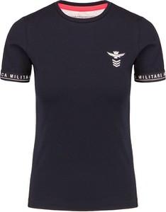 T-shirt Aeronautica Militare z bawełny z okrągłym dekoltem z krótkim rękawem
