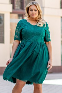Sukienka KARKO z dekoltem w kształcie litery v mini z tkaniny
