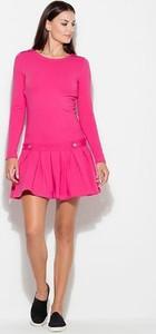 Różowa sukienka Katrus mini z długim rękawem z okrągłym dekoltem