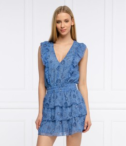 Niebieska sukienka Pepe Jeans z dekoltem w kształcie litery v mini