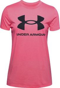 Różowy t-shirt Under Armour z krótkim rękawem z okrągłym dekoltem