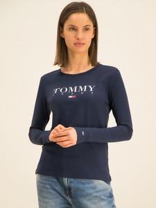 Granatowa bluzka Tommy Jeans z długim rękawem w stylu casual