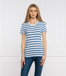 Niebieski t-shirt Tommy Hilfiger z okrągłym dekoltem z krótkim rękawem w stylu casual