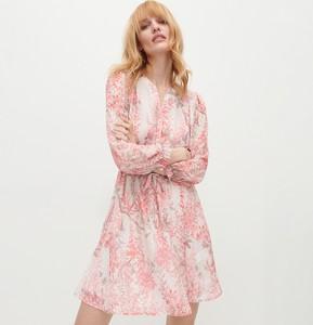Różowa sukienka Reserved z długim rękawem mini z tkaniny