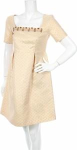 Sukienka L'autre Chose z dekoltem w karo mini z krótkim rękawem