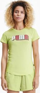 Zielony t-shirt Puma z krótkim rękawem z okrągłym dekoltem