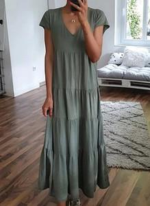Zielona sukienka Sandbella w stylu boho maxi