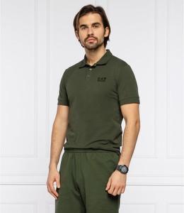 Zielona koszulka polo Emporio Armani z bawełny z krótkim rękawem