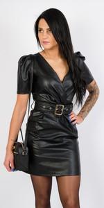 Czarna sukienka Olika ze skóry
