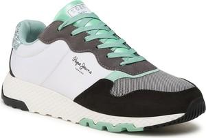 Buty sportowe Pepe Jeans z zamszu z płaską podeszwą sznurowane