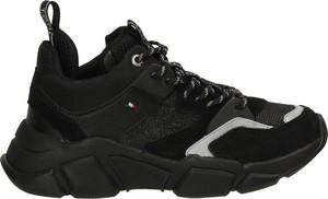 Czarne buty sportowe Tommy Hilfiger ze skóry ekologicznej sznurowane