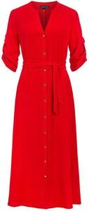 Czerwona sukienka Kaskada w stylu casual z długim rękawem z dekoltem w kształcie litery v