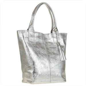 8956974907221 Borse in pelle torba worek w kolorze srebrnym ze skóry naturalnej xl