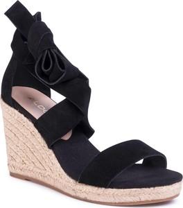 Czarne sandały Aldo na wysokim obcasie ze skóry ekologicznej