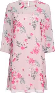 Różowa sukienka bonprix BODYFLIRT z długim rękawem z szyfonu w stylu casual