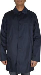 Niebieski płaszcz męski Prada z jedwabiu