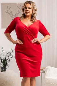 Czerwona sukienka KARKO z długim rękawem kopertowa