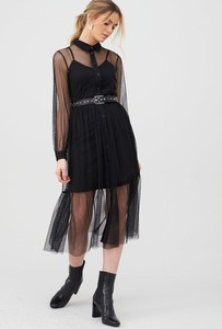 Czarna sukienka V by Very z długim rękawem z okrągłym dekoltem