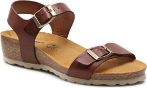 Brązowe sandały Salamander ze skóry w stylu casual z klamrami
